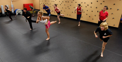 Members of the kickboxing class